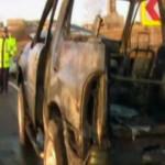 ARGEŞ: Un autoturism de teren a explodat în mers! Trei bărbaţi au ajun...