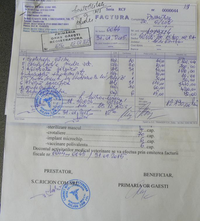 Una dintre facturile lunii ianuarie 2015 (Foto: Cronica de Găeşti)