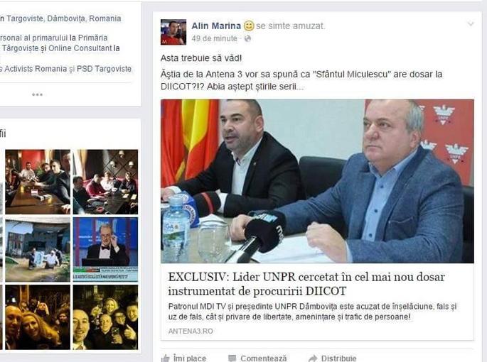 Alin Marina  este consilier personal al primarului interimar Cristian Stan şi membru PSD