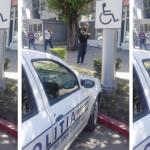 SFIDARE: Maşina Poliţiei, parcată pe un loc rezervat persoanelor cu di...