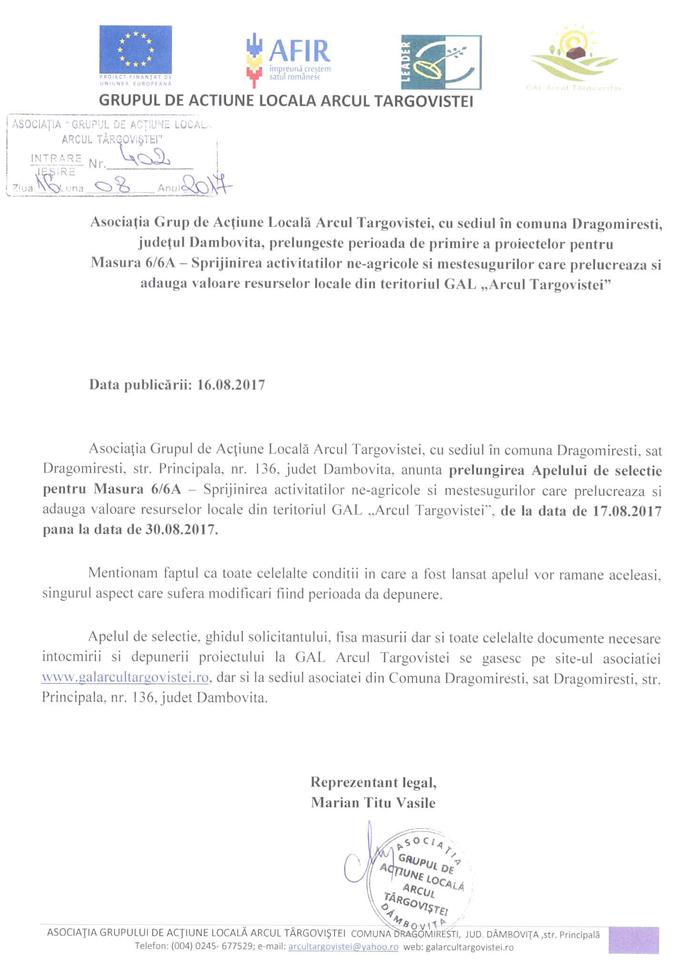 prelungire apel selectie GAL Arcul Targovistei