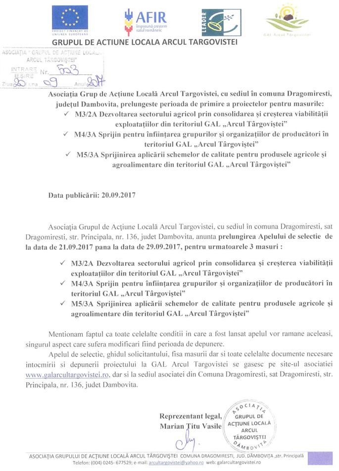 Arcul Targoviste anunt 3 prelungire apel selectie