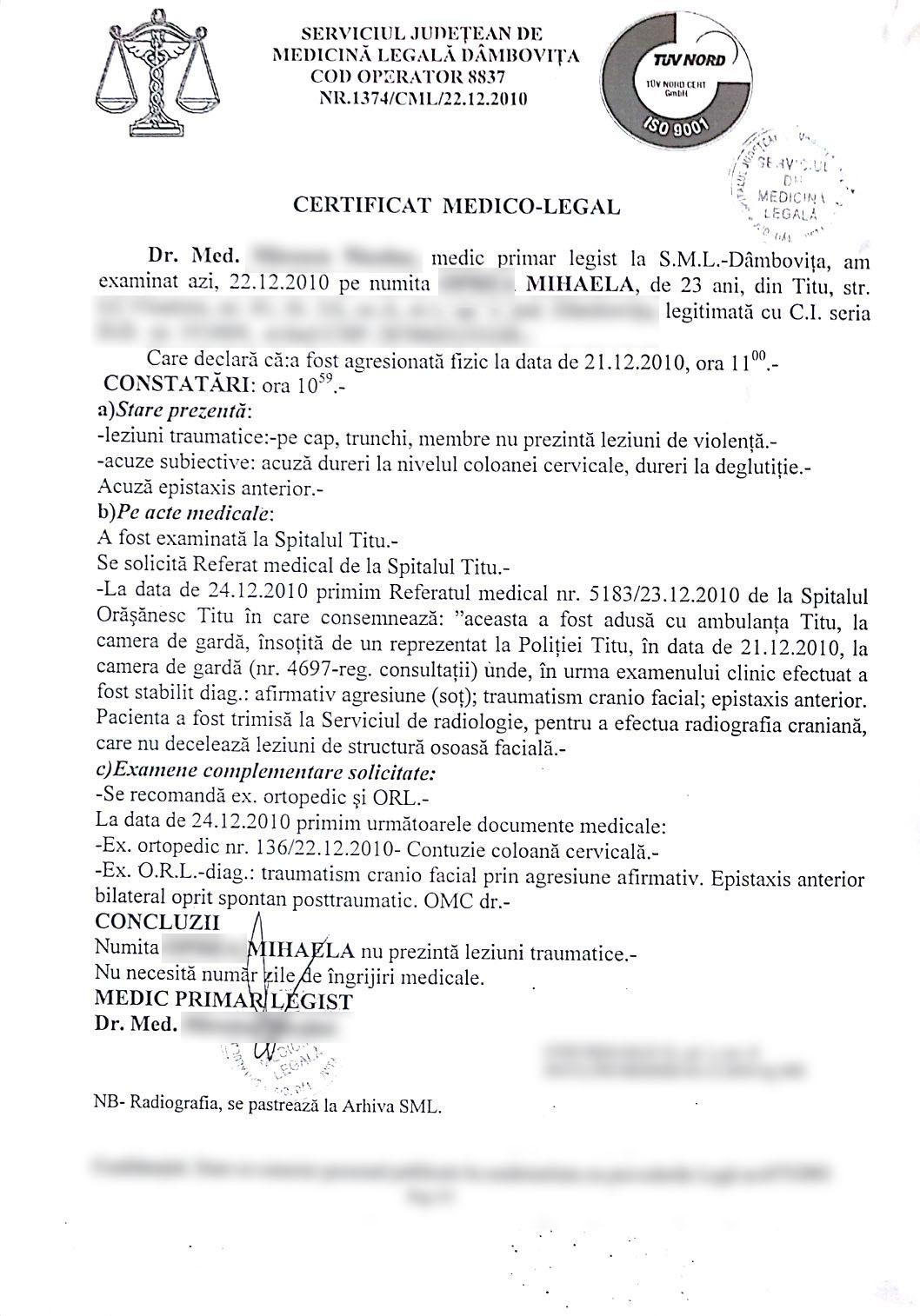 certificat medico-legal caz ofiter MApN